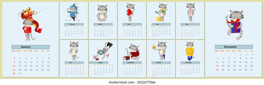 Calendar design for 2022 with cute tiger cub with seasonal activities by month. Calendar design concept with cartoon tiger cub, cute tiger, new year character. Kit for 12 months 2022 pages.