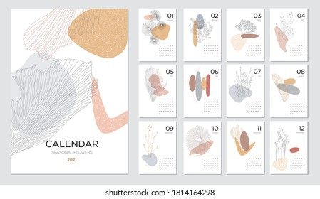 Calendar design concept with abstract natural elements. 2021 calendar template on a beauty themeSet of 12 months 2021 pages. Vector illustration