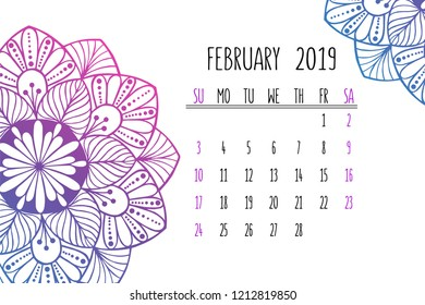 Decorated February Calendars 2019 Mandala Weekly Planner Images, Stock Photos & Vectors | Shutterstock
