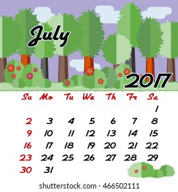 Calendar design grid with seasonal forest in flat style and dates of summer month July 2017. Vector illustration