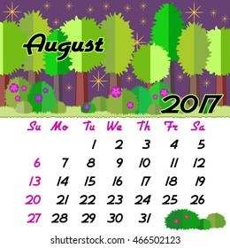 Calendar design grid with seasonal forest in flat style and dates of summer month August 2017. Vector illustration