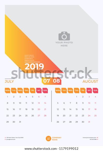 Calendar Design July August 2019 Simple Stock Vector