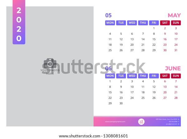 Calendar Design May June 2020 Simple Stock Vector (Royalty