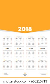 Calendar Design Template for 2018 Year. Week starts on Sunday. Stationery Design. Vector Calendar Poster with Place for Photo