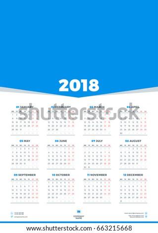 Calendar Design Template 2018 Year Week Stock Vector Royalty Free