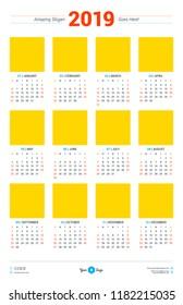 Calendar design template for 2019 year. Week starts on Sunday. Size 11x17. Stationery design. Vector calendar poster