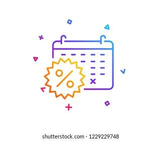 Calendar discounts line icon. Sale shopping sign. Clearance symbol. Gradient line button. Calendar discounts icon design. Colorful geometric shapes. Vector