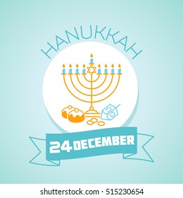 Calendar for each day on december 24. Greeting card. Holiday - hanukkah. Icon in the linear style