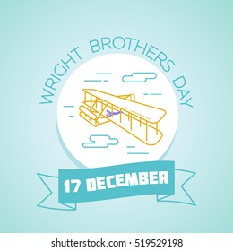 Calendar for each day on December 17. Greeting card. Holiday -  Wright Brothers Day. Icon in the linear style