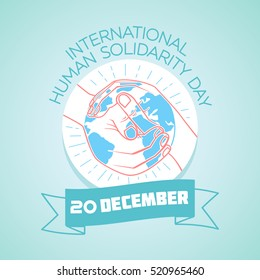 Calendar for each day on December 20. Greeting card. Holiday - international human solidarity day. Icon in the linear style