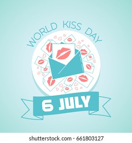 Calendar for each day on july 6. Greeting card. Holiday -  World Kiss Day (International Kissing Day). Icon in the linear style
