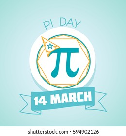 Calendar for each day on March 14. Greeting card. Holiday - Pi day. Icon in the linear style