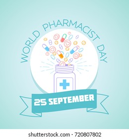 Calendar for each day on september25. Greeting card. Holiday -  World Pharmacist Day. Icon in the linear style