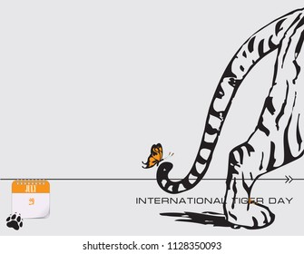 Calendar events of July - Congratulations for International Tiger Day