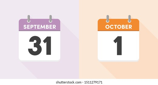 Calendar, Fall, Sale concept - Vector illustration. Simple & stylish design End of September to beginning of October calendar. The consumption tax increase 10/1 in japan.