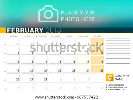 calendar for february 2018 vector design print template with place for photo logo and