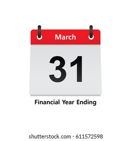 Calendar, the fiscal year end of March 31, Calendar Date - March 31st (Vector)