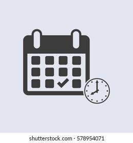 Calendar flat icon,  handshake - Vector