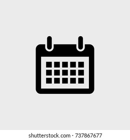 Calendar flat vector icon on a gray background