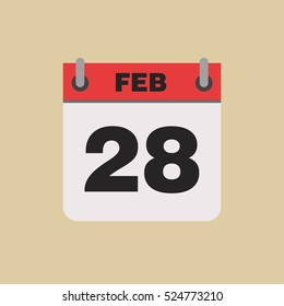 calendar flipping date time day month February simple flat vector illustration application app logo icon