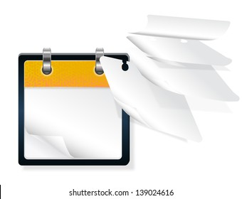 calendar with flying pages