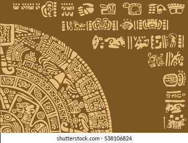 Calendar fragment of ancient civilizations. Images of characters of ancient American Indians.The Aztecs, Mayans, Incas.