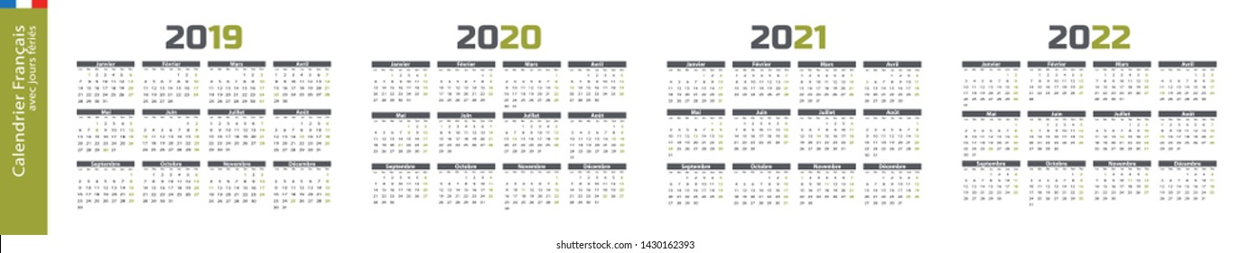 Calendar in french language, from 2019 to 2022