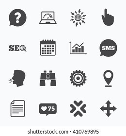 Calendar, go to web and like counter. Internet, seo icons. Analysis chart, page and computer signs. Question speech bubble symbol. Sms speech bubble, talk symbols.