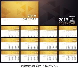 Calendar Golden Planner 2019 year. Calendar plan simple minimal wall and desk type calendar template. Week starts from sunday