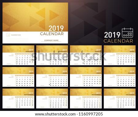 Calendar Golden Planner 2019 Year Calendar Stock Vector Royalty