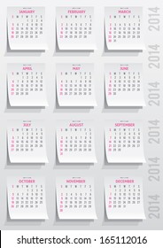 calendar grid of 2014 year on realistic paper stickers