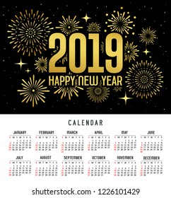 Calendar happy new year 2019 message firework gold and black template design background, vector illustration