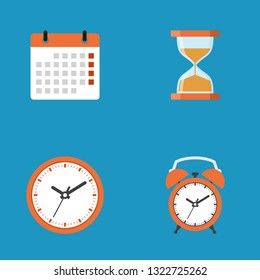 Calendar, hourglass, clock, alarm clock icon collection, flat design vector illustration