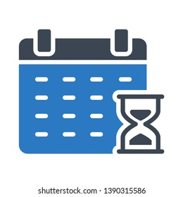 calendar hourglass glyph double color icon