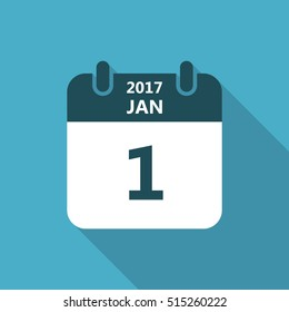 Calendar icon 1 january 2017 year with long shadow isolated on blue background. Calendar in flat style, vector.