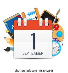 Calendar Icon of 1 September. Vector Illustration EPS10
