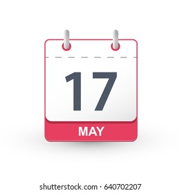Calendar Icon 17 May. Vector illustration of calendar with the date 17 May.