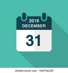 Calendar icon 31 of december 2016 year with long shadow isolated on green background. Calendar in flat style for new year's eve, vector.