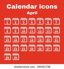 The calendar icon.  April symbol. Flat Vector illustration. Set