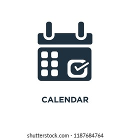 Calendar icon. Black filled vector illustration. Calendar symbol on white background. Can be used in web and mobile.