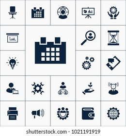 Calendar icon business set simple vector illustration