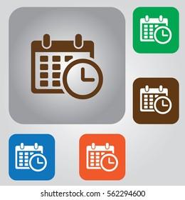 calendar icon, calendar & clock icon.