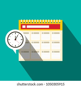 Calendar Icon with Clock. Schedule Flat Design Symbol. Reminder Vector Illustration.