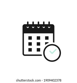 Calendar icon. Concept of organization appointment, schedule, deadline, timing. Vector illustration, flat design