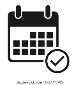Calendar icon, date event symbol isolated on white background. Vector web button