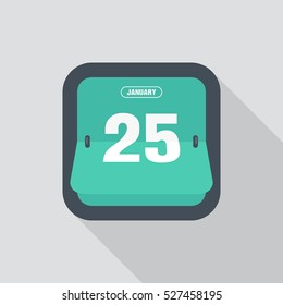 Calendar icon flat design, isolated with long shadow, vector illustration