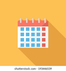 Calendar icon. Flat design style modern vector illustration. Isolated on stylish color background. Flat long shadow icon. Elements in flat design.