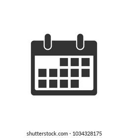 Calendar icon. Flat design. Vector illustration.