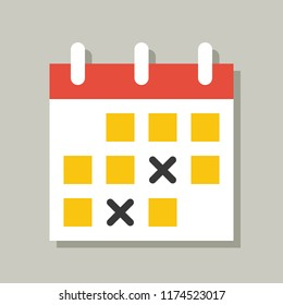 calendar icon, flat design vector pixel perfect