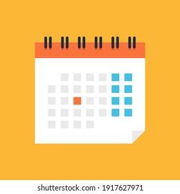 Calendar icon. Flat design. Vector illustration